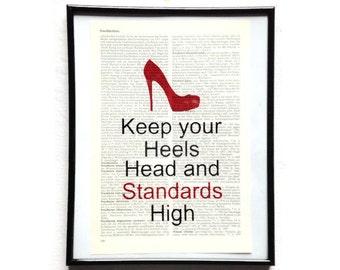 Standard high heels head vintage art print encyclopedia art print encyclopedia old book pages
