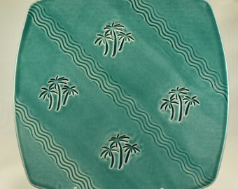 Square Ceramic Serving Dish in Teal with Palm Trees Handmade