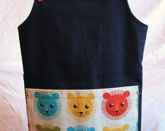 Pinafore Dress Toddler Dungaree Dress Lions Aged 2-4 years