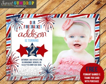 4th of July Birthday Invitation - Printable - FREE pennant banner and thank you card with purchase