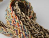 "Natural Jute Braid Ribbon Trim by 1-yard, 7/8"", Brown, Multicolor, SCH-169"
