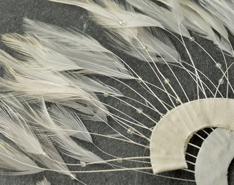 "Half Circle Feather Applique with Beads, Millinery Feather Applique by 1 pc, Off White, Brown, 9""W x 5""H, TFP-AP5117"