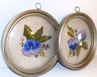 SWEEEET Vintage Framed Embroidered Floral Set with Convex Glass EACH 8 x 10 Inches