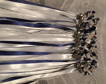 50 Wedding Ribbon Wands/ Wedding Wands/Wedding Wand/Wedding Wands Streamers  -  Lace, Silver and Navy