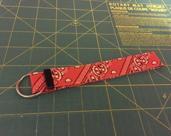 Red Bandana and Black Duct Tape Keychain Wristlet