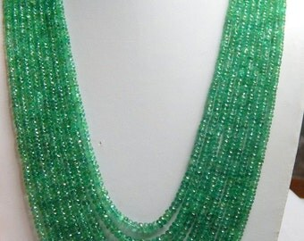 Gift Item 526cts. Super Fine Quality Natural Faceted Emerald Rondelle Beads Necklce 20'' size 3-5mm free shipping