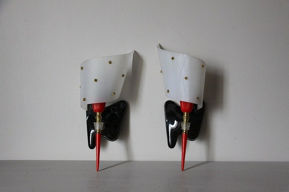 Set of 2 Mid Century Vintage Wall Sconces 1960s Rockabilly