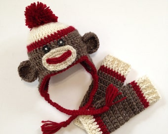 Crochet Sock Monkey Hat and Baby Legs, Newborn Sock Monkey Hat Set, Newborn Photo Prop, Crochet Baby Legs