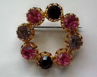 Austrian Crystal Circle Brooch - 3775