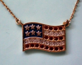 American Flag Pendant Necklace - 3794