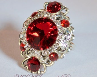 Swarovski Ring, Vintage Ring, Victorian Ring, Siam/Red Crystal Ring, Silver, Antique Silver, Filigree, Clear Rhinestone.