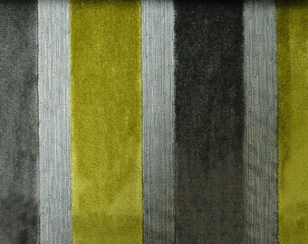 Modern Velvet Stripe Slate Fabric