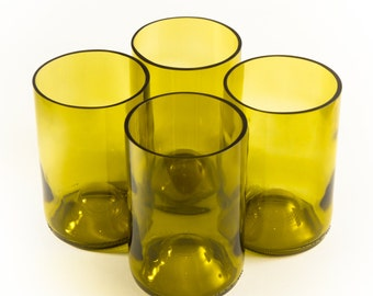 6x Upcycled Glass Tumblers made from Recycled Wine Bottles [Olive Yellow] - homeware, glassware, kitchen, sustainable