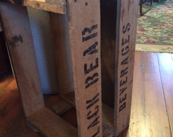 Vintage Black Bear Beverages. Wood Crate Box, Made in USA
