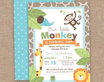 First Boy Birthday Monkey & Jungle Animals Invitation, Safari, DIY Printable