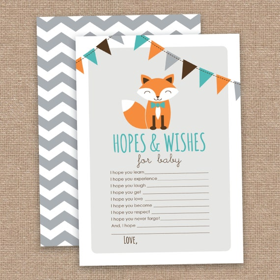 boy fox hopes and wishes baby shower card instant printable download