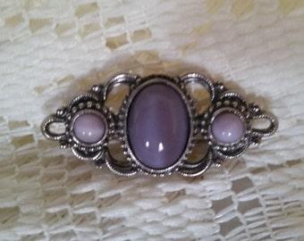 Vintage Silver Plated Filigree Purple Agate Brooch