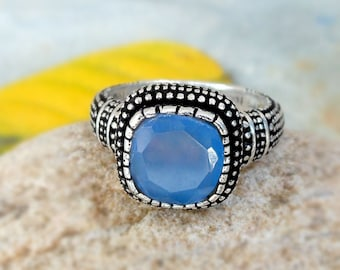 Blue Chalcedony Ring - Cushion Ring, Blue Ring, Designer chalcedony Jewelry, silver oxide ring, Gemstone ring - Gift for her,