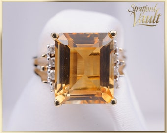 Citrine & Diamond Ring ~ 10K Yellow Gold ~ 12 x 10 mm Emerald Cut Natural Citrine ~ 0.16ctw Genuine Diamonds ~ STR16025 ~ GIA ~ 1200.00
