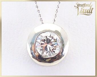 Vintage ~ Diamond Solitaire Pendant ~ 10K White Gold Bezel Set Mount ~ 0.45 ct Genuine Brilliant G/SI1 Diamond ~ STR17242 ~ GIA ~ 4000.00