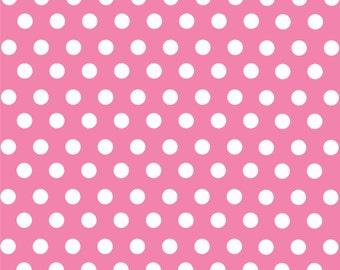 Pink with white polka dot pattern craft  vinyl sheet - HTV or Adhesive Vinyl -  medium polka dots HTV1615