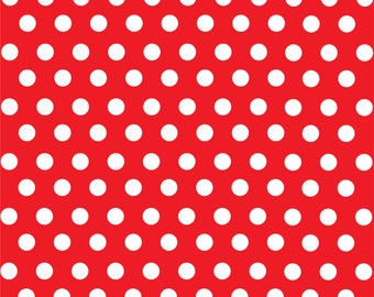 Red with white polka dot pattern craft  vinyl sheet - HTV or Adhesive Vinyl -  medium polka dots HTV1616