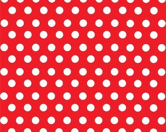Red with white polka dot pattern craft  vinyl sheet - HTV or Adhesive Vinyl -  medium polka dots HTV1616