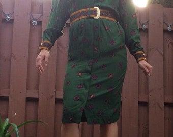 Vintage Print Dress M/L