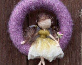 Needle felted fairy yarn wreath *MADE TO ORDER*