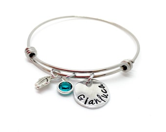 Hand stamped personalised/personalized expandable bangle charm name bracelet