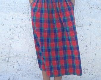 Red Plaid Midi Skirt