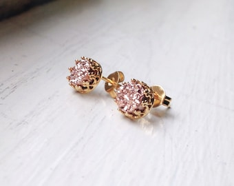 Tiny 6 mm Romantic Rose Gold Druzy - Vermil setting- Druzy studs - Druzy earrings - ROSE GOLD Stud Earrings