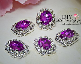 Small Oval PURPLE Crystal buttons Rhinestone Buttons  Embellishment flatback Bridal Accessories Hair Bow flower centers 20x16mm 875040