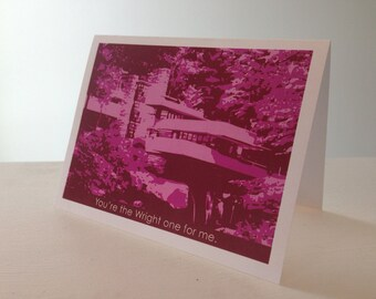 Funny Valentine's Day card, Funny Anniversary, Frank Lloyd Wright, Fallingwater, Architecture, illustration, art history, Sweetest Day card