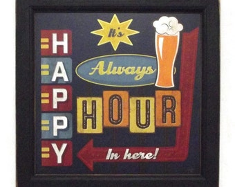 Craft Beer, Sign, Happy Hour, Beer Sign, Funny Sign, Man Cave, Bar Decor, Wall Hanging, Handmade, 14X14, Custom Wood Frame, Made in the USA