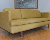 ON HOLD Mid Century Sofa with Walnut Base