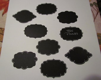 "black ""chalkboard"" die cut labels"