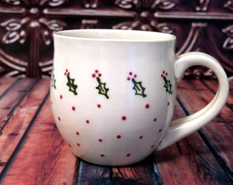 Christmas Holly Mug, 10 ounce - Ready to Ship  (coffee, tea cup, stoneware, ceramic, holly, pretty mug)