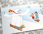 1 Sledding Yeti Blank Greeting Card with envelope