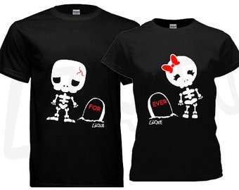 Couple T-shirt, his and hers, Skelleton theme - black. Gildan Ultra Cotton. Unique gifts for couples Valentine's, Anniversary, Wedding