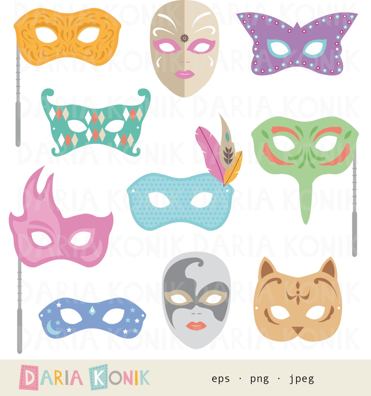 Venezianische Masken Clip Art Set-Karneval Clipart Clipart