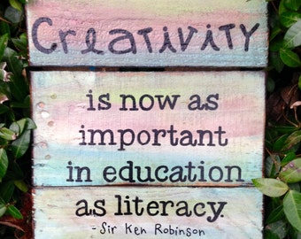 "Wood Sign, Reclaimed Wood Sign, ""Creativity"" Art"