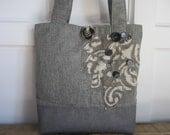 Womens Large Grey Fabric Tote bag Handbag, Grey fabric Tote Bag, Grey Handbag, Large Tote Bag, Purse,Travel Tote Bag, Appliqued Tote Bag