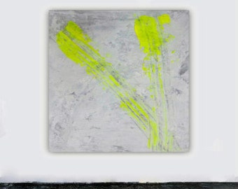 Abstract art grey white grey yellow canvas wall art painting modern contemporary minimalist giclee