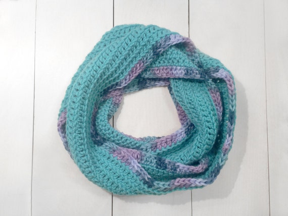 Crochet Infinity Scarf Pattern For Child : Crochet Teal Child Infinity Scarf Chunky by RedMaverickMarket
