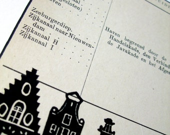 Amsterdam vintage art: unique handmade lino print of canal houses on vintage 1916 list of Amsterdam street names, Voo-Zij. Signed, unframed.