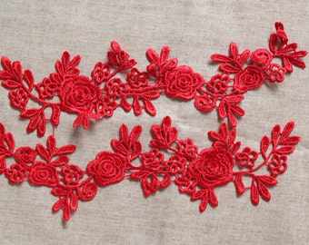 Red Lace Applique, Black Lace Applique, Venise Lace Applique, Flower Lace Applique, 1 pair