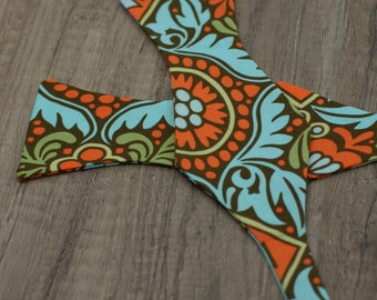Handmade bow tie orange blue  floral self tie freestyle colorful cotton bowtie