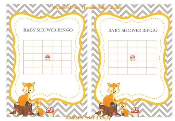 woodland fox baby shower bingo blank cards woodland animal, Baby shower invitations