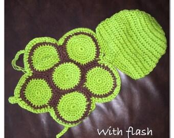 Custom green & brown crochet turtle photo prop